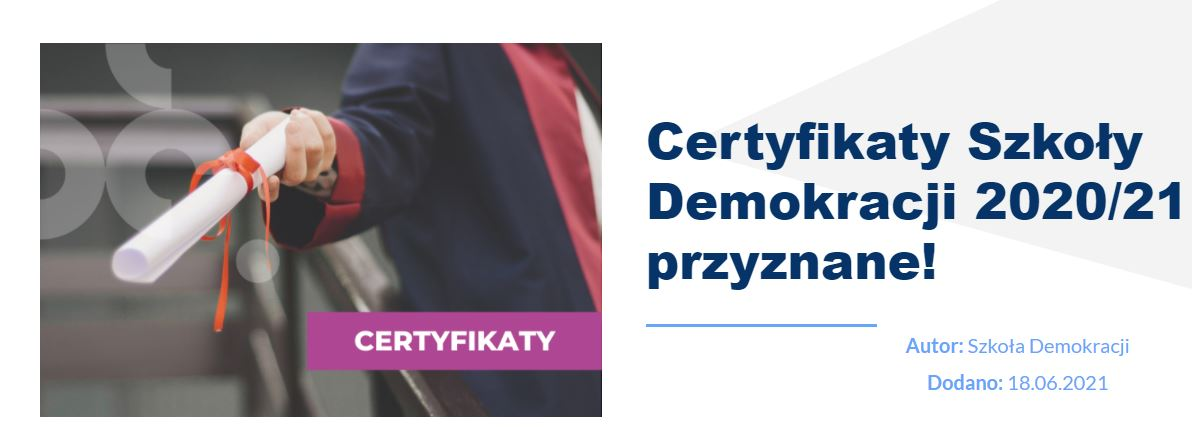 Certyfikat Szkoły Demokracji