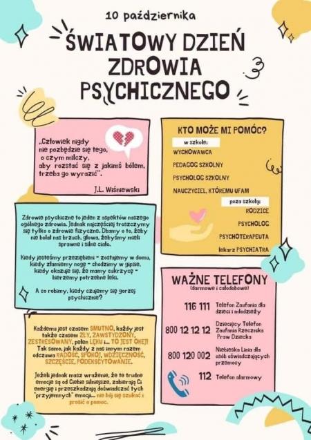 10 października - Światowy Dzień  Zdrowia Psychicznego
